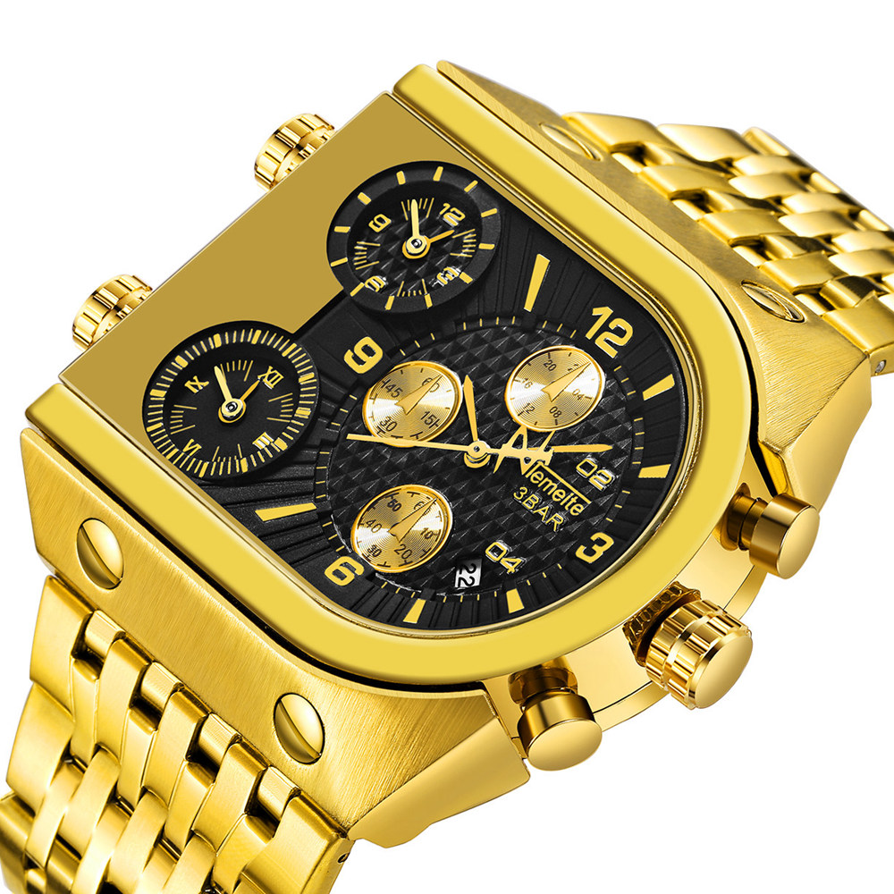 브랜드 원래 독특한 디자인 스퀘어 남자 손목 시계 와이드 빅 다이얼 캐주얼 쿼츠 시계 골드 남성 스포츠 시계 대형 시계 whatch-에서수정 시계부터 시계 의  그룹 2