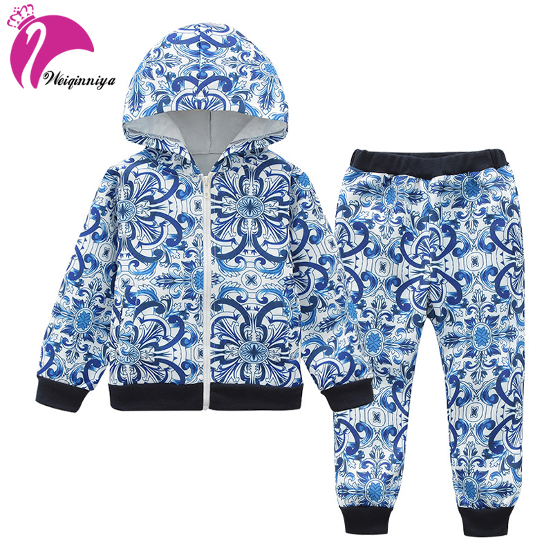Sports Suits For Girls Floral Girls Suit Casual Kids Sport Suit Printing Pattern Hooded School Sets Children Tracksuits For Girl brand children girl casual tracksuits infant outfits kids clothing sets girls sport suit for children babi girls tees leggings