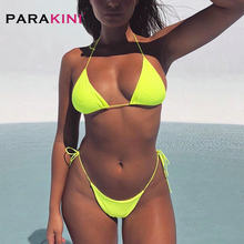 PARAKINI 2020 New Neon Micro Bikini Set Push Up Swimsuit Women Two Pieces Bikini Bathing Suit Female Bathers Tiny Thong Swimwear(China)