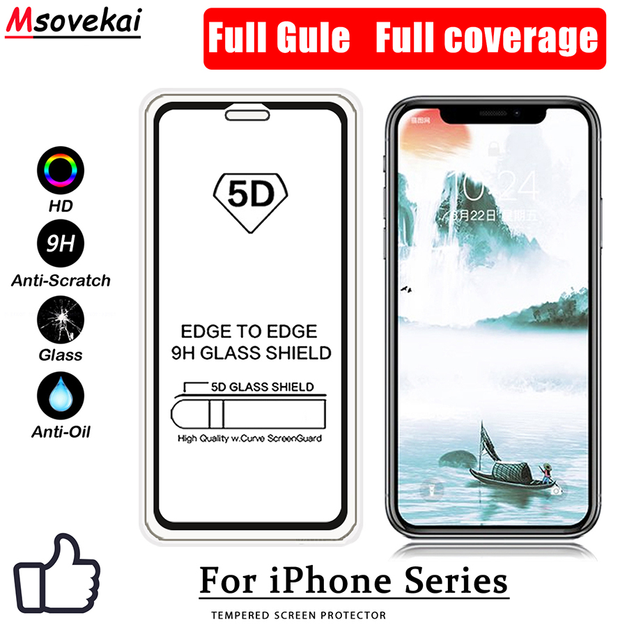 6D 9D 5D Tempered Glass For iPhone Xs Max XR For iPhone 8 Plus 7 Plus 6S Plus 9H Full Gule Full Coverage Screen Protector Film in Phone Screen Protectors from Cellphones Telecommunications