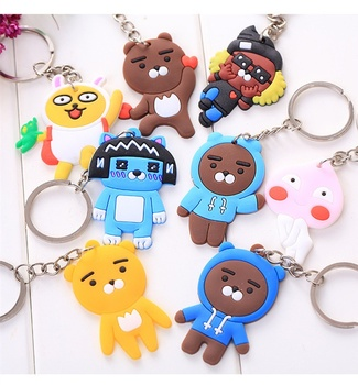 Creative Practical Small Gift Rubber Keychain PVC Soft Plastic Key Ring Cartoon Silicone Animal Pattern Pendant Bag Key Chain