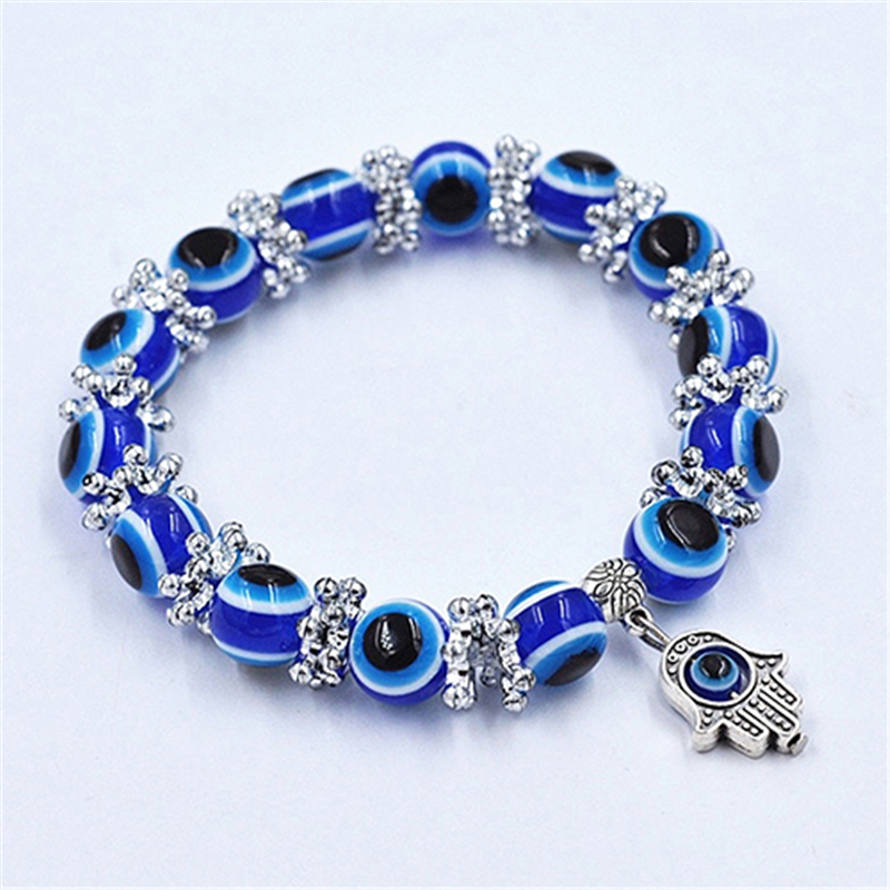 Unisex Vintage Pulseras Hombre Handmade Hamsa Fatima Bangle Evil Eye Beads Elastic Bracelet New Year Gift For Men Women Sieraden