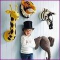 Hot Flamingos/Girafa/Fox/Tiger/Zebra/Cisne/Elephant Animal Cabeça Casa Travesseiro Para A Parede Parede Da Sala De decoração Cabides Miúdos Bonitos Brinquedos