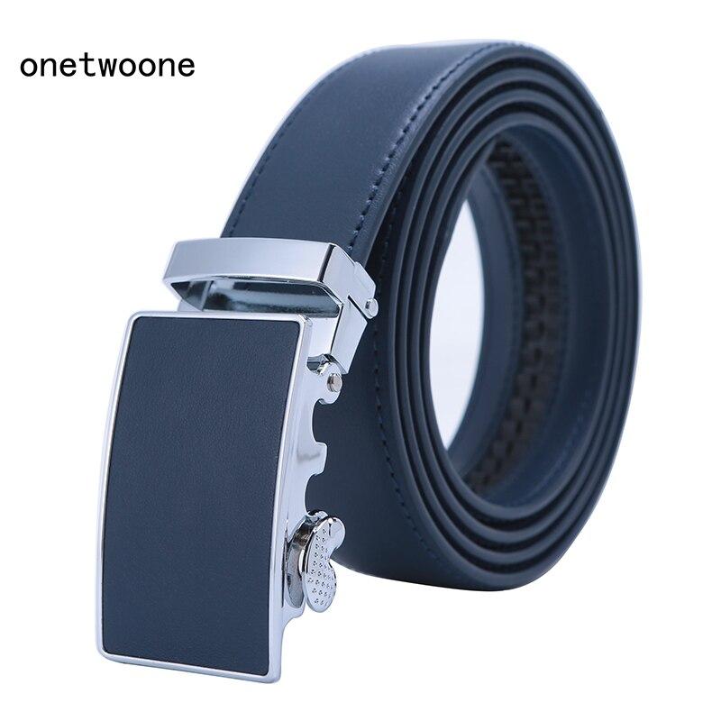 Mens High Quality Genuine Leather   Belt  -Ratchet Automatic Buckle Men   Belt   Popular Business Blue Luxury Mens   Belts   3.0 cm Width