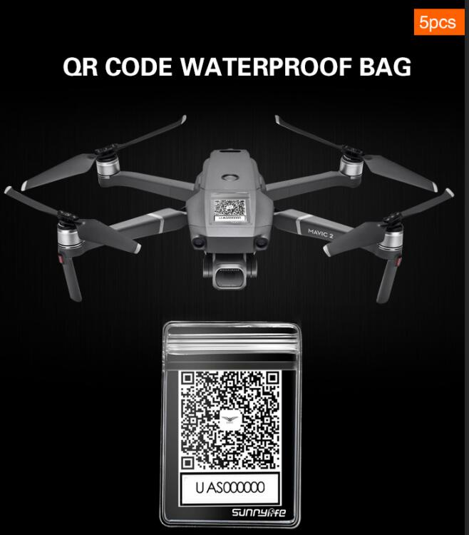 5pcs QR Code Phone Number Sticker Waterproof Protective Bag For DJI MAVIC 2 Phantom 3 4 SPARK XIAOMI Drone