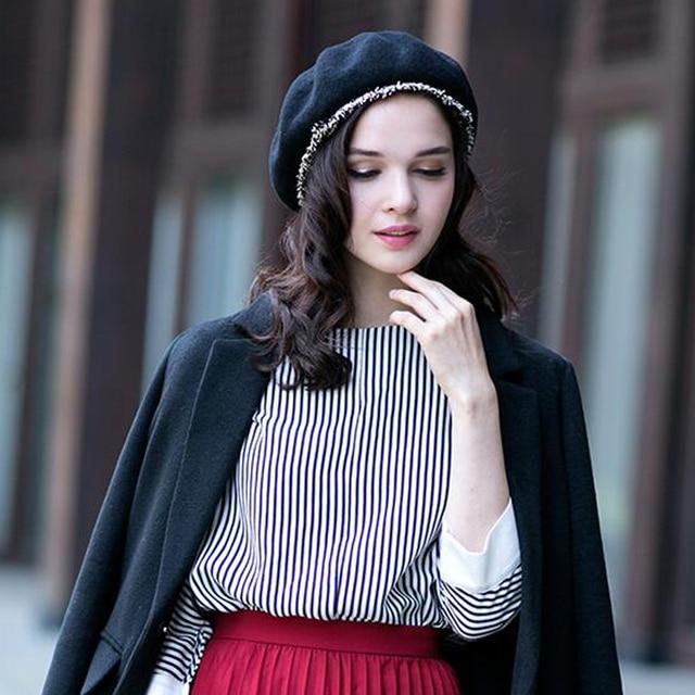 Solid color Women Felt French Beret Beanie hat Winter XB-D727