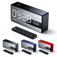New arrival Hot Portable Time Display Alarm Clock FM Radio TF Card Support Bluetooth Speaker Built in 4000mAh Battery