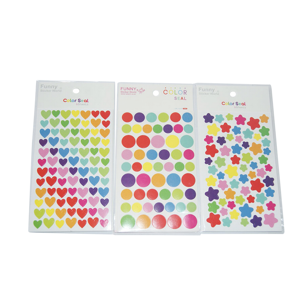 504 Small Pcs=1pack=6 Sheets Colorful Fresh Dots Heart Star Label Stickers Gift Packaging Stickers Decoration