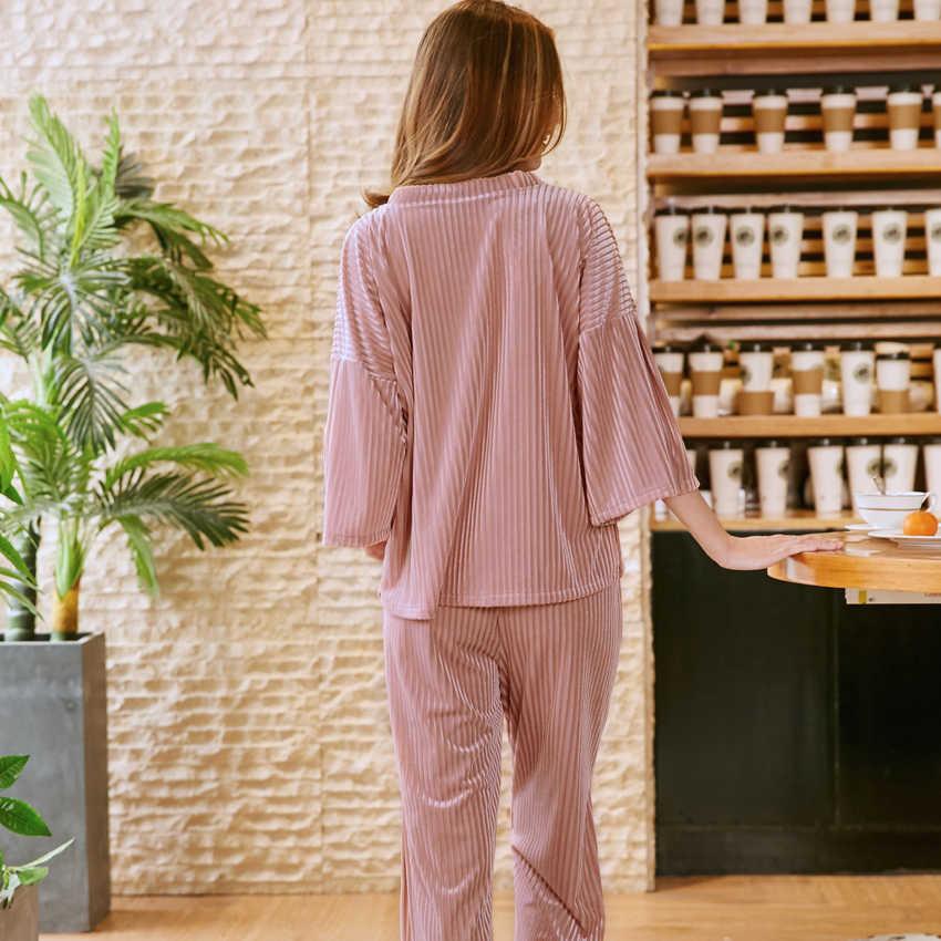 2018 סקסי אלגנטי נשים פיג 'מה Pleuche חדש סתיו הלבשת Loose מקרית מתנות באיכות גבוהה נשי בגדי שנת Homewear