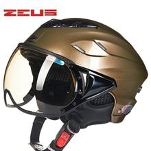 Casco de motociclista ZEUS para mujer, casco Vintage Sctoor para bicicleta, casco de verano para hombre, cascos de media cara con objetivo anti rayos UV