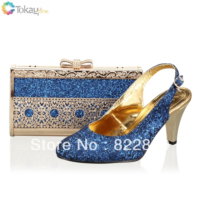 Woman shoes,Italian shoe and bag to match with free shipping fashion shinning stones for wedding,Royal blue,Size38-40,SB8725