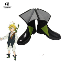 ROLECOS Japanese Anime The Seven Deadly Sins Cosplay Shoes Meliodas Cosplay Shoes Men Cosplay Costume Black Boots