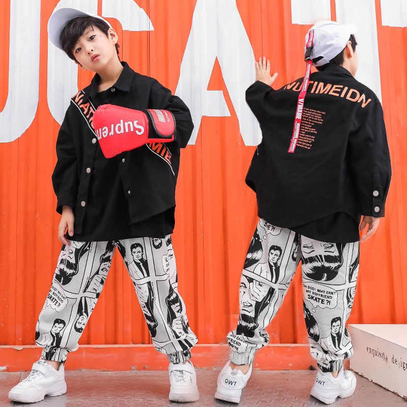 Детская футболка унисекс одежда для отдыха в стиле хип-хоп для мальчиков и девочек черное пальто Новинка, детские штаны с принтом в стиле хип-хоп для подростков
