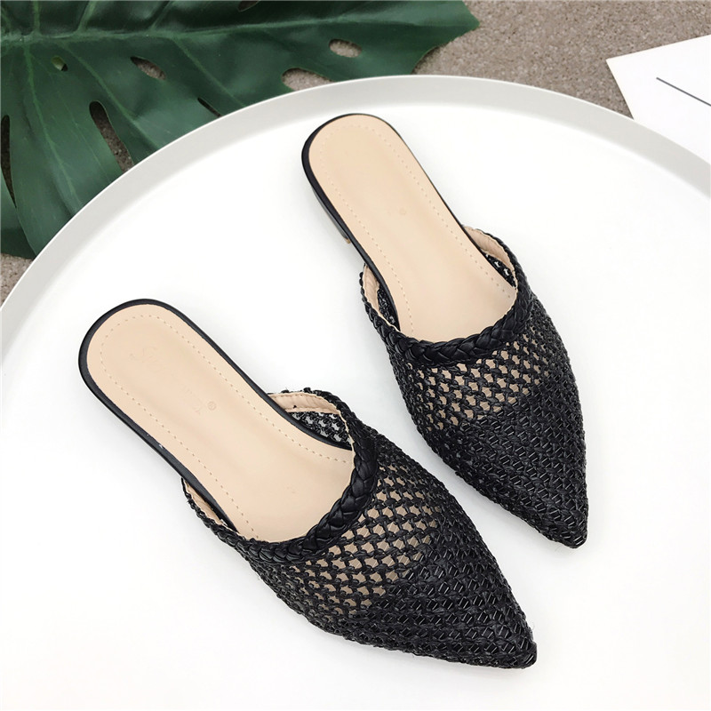 Women's Pointed Low Heel Slippers NIUFUNI Summer Cane Woven Rattan Grass Sandals Beach Shoes Women's Slippers Flat Shoes Slides 2
