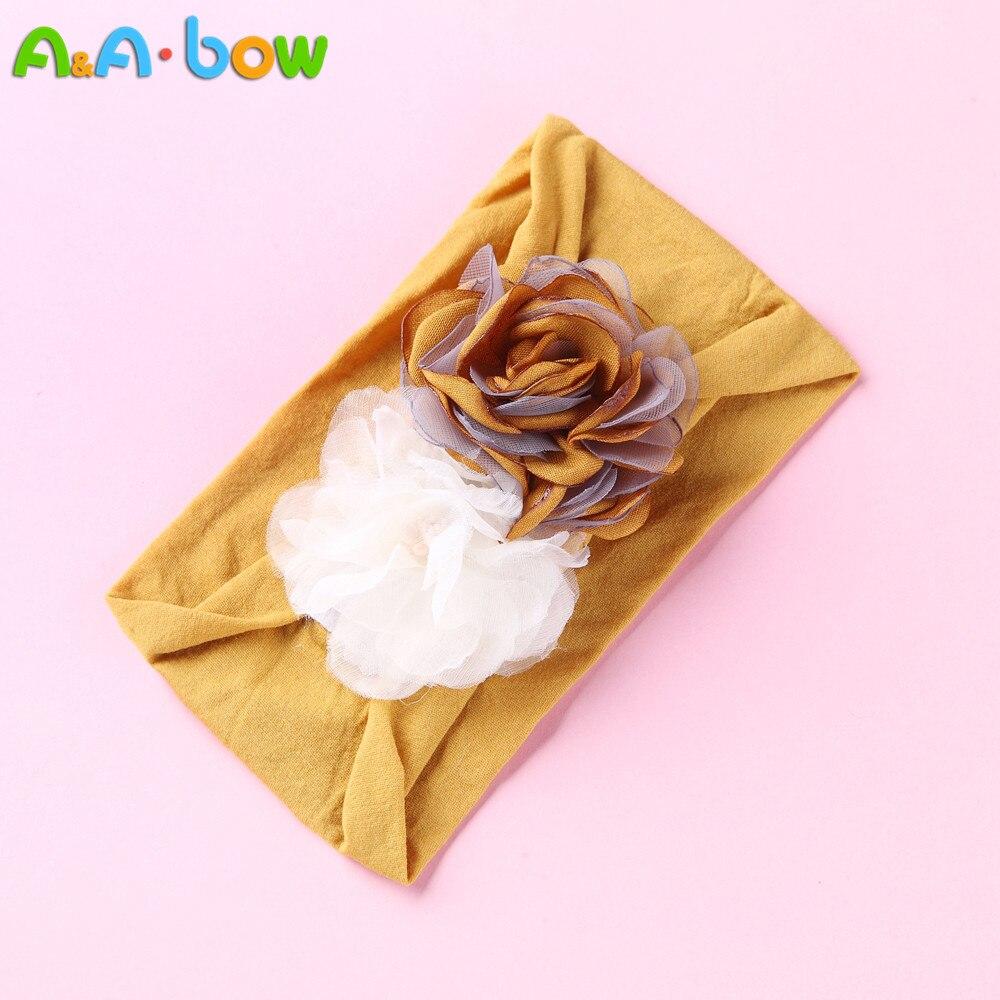 1 pcs Handmade Baby Double Floral nylon Headband Elastic Mustard Turban Hairband Baby Girls Head Wrap Warmer   Headwear