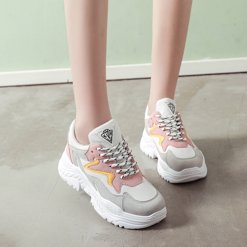 Women Casual Shoes 2018 Spring Autumn Fashion Platform Women Shoes Breathable Women Sneakers Suede Leather Lace-Up Flats smile circle spring autumn women shoes casual sneakers for women fashion lace up flat platform shoes thick bottom sneakers