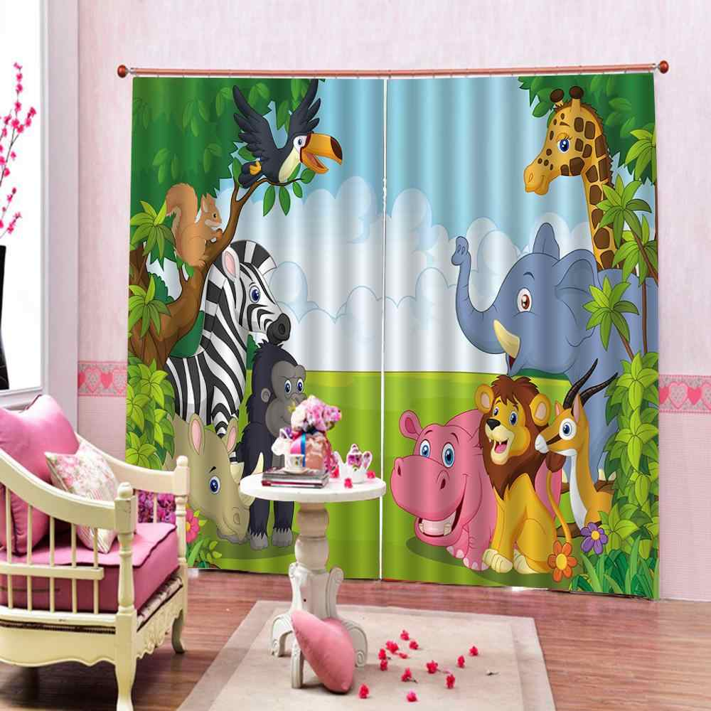 animal park cartoon curtain window curtains for living room bedroom blackout curtains Drapes Cortinas