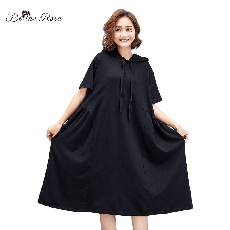 de11987ae2 BelineRosa 2018 Women s Casual T-Shirts Dresses Hooded Collar Casual Simple  Style Pure Color High Waist Black Dress TYW00776