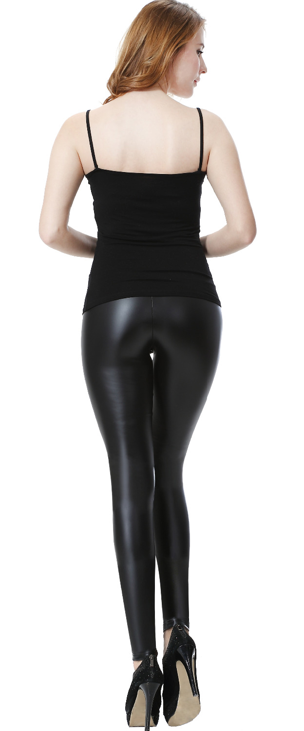 61fcd3896e4 Everbellus Female High Waisted Leather Leggings Woman Fitness Elastic Sexy  Black Bright Faux Leggings Femme Push Up Pants -in Leggings from Women s  Clothing ...