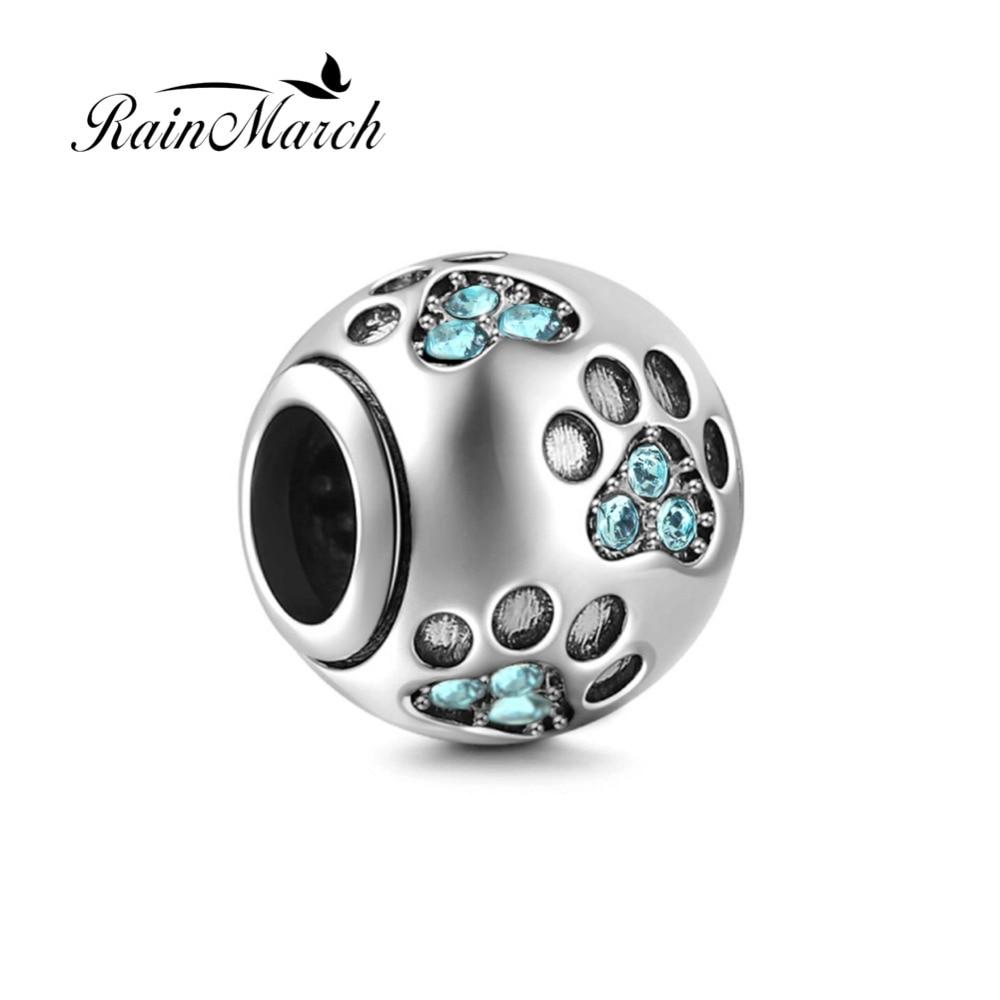 Fits Pandora Bracelets New Design Dog PawPrint Round Beads ...