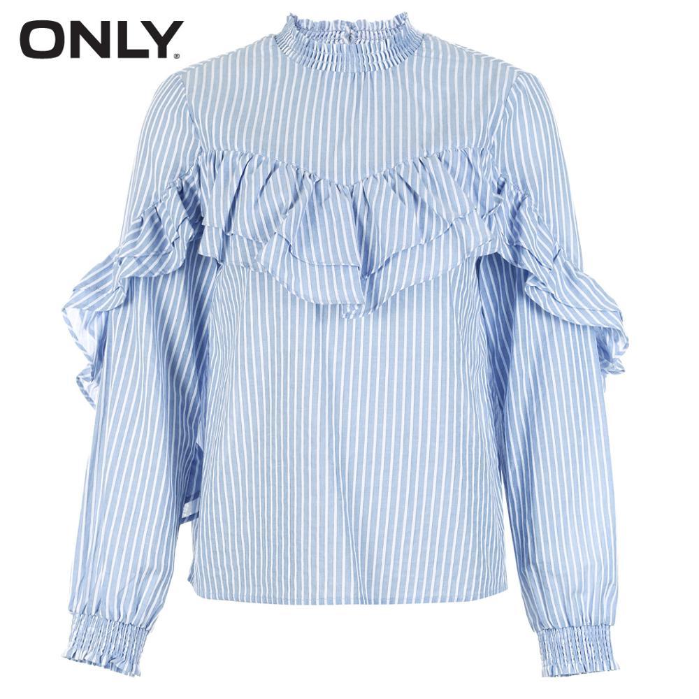Invierno Con new 118151512 Collar Pinstripe Camisa Creme Nuevo Volantes Sólo Mujeres De Las qxWnP1xtAB