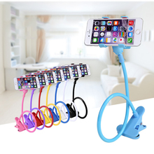 2016 New Universal Long Arm Lazy Mobile Phone Gooseneck Stand Holder Stents Flexible Bed Desk Table Clip Bracket For iphone 6 7