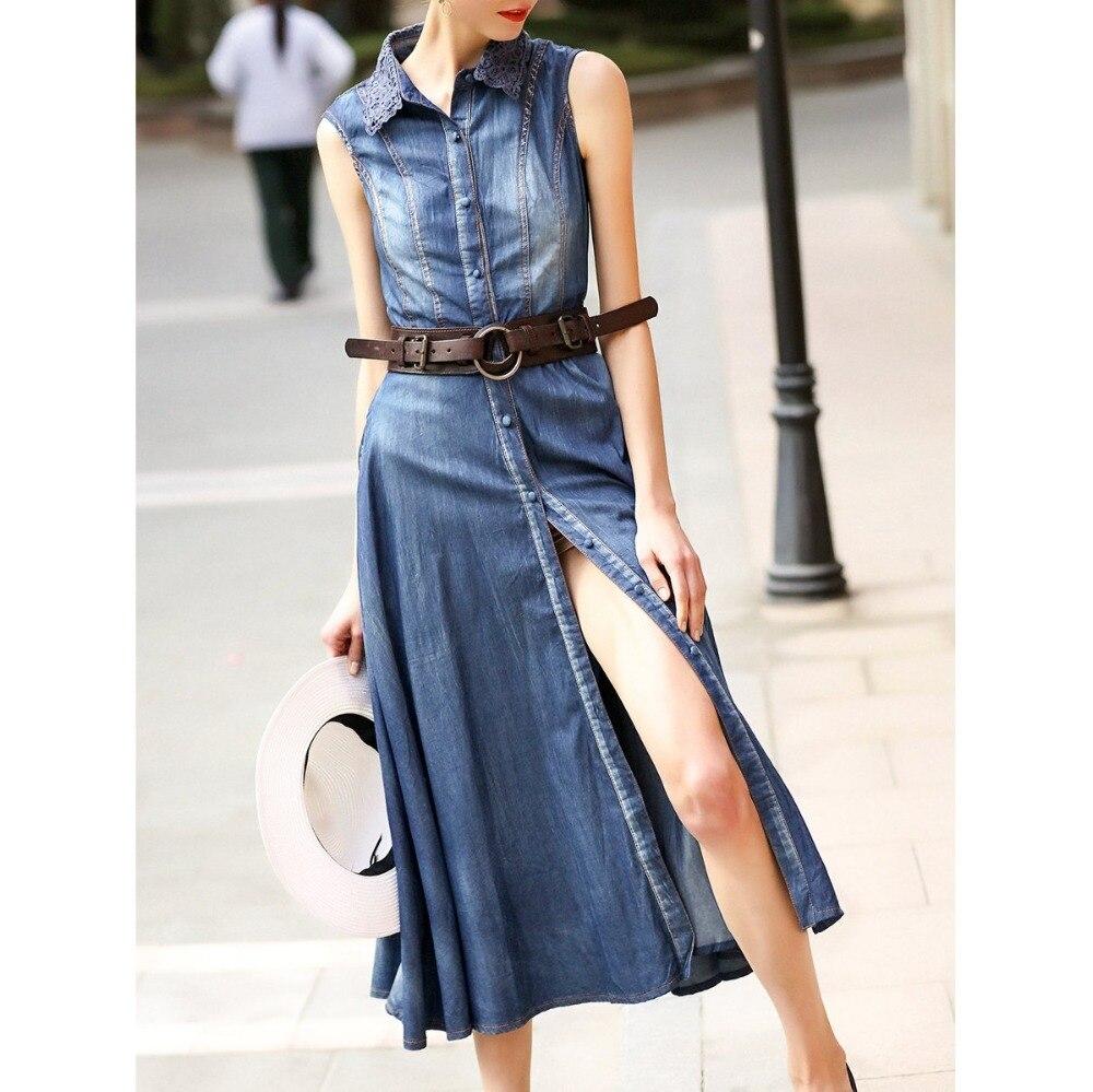 Original 2017 Brand Vestidos De Fiesta Summer Plus Size Blue Sleeveless Crocheted Slit Denim font b