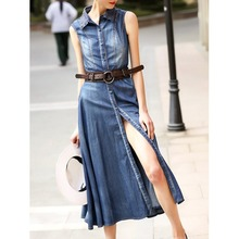 Original 2017 Brand Vestidos De Fiesta Summer Plus Size Blue Sleeveless Crocheted Slit Denim Shirt Dress Wholesale