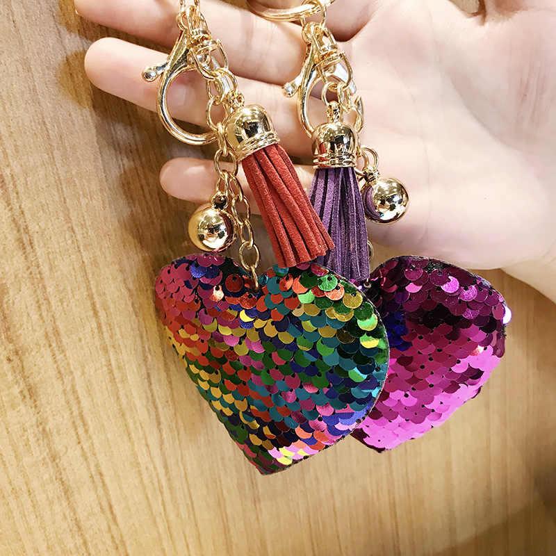 Coração Chaveiro Borla Pompom Glitter Lantejoulas Presentes Chaveiro para As Mulheres Llaveros Mujer Bolsa de Acessórios Do Carro Chaveiro Chave Anel