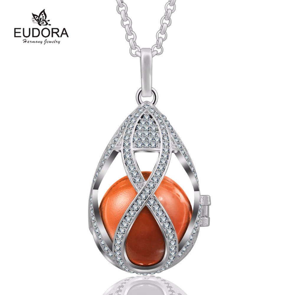 Harmony Bola Ball Crystal Water Drop Pendant Locket Cage with Colorful Angel Caller Ringing Chime Balll Pregnant Gift
