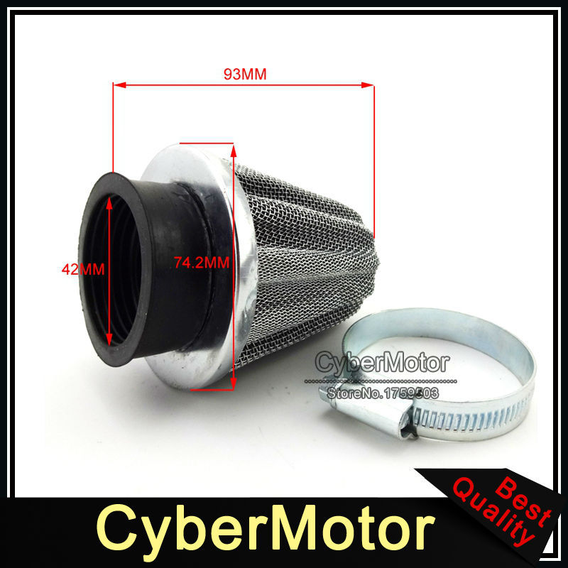 42mm Air Filter Red Fuel Hose Filter For ATV Quad Pit Pro Dirt Bike 125cc 140cc