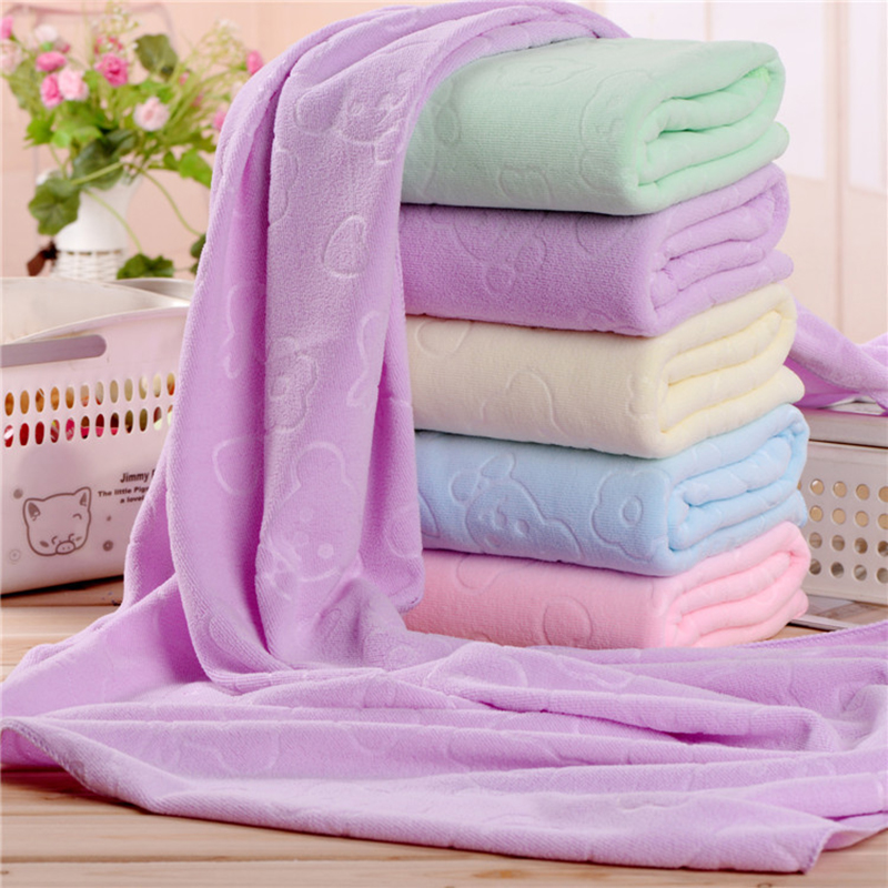 Image 2 - 70X140CM Microfiber Quick dry Towel Bear Cartoon Bath Towels Cotton Soft Dry Towels Kitchen Clean Absorbent Towels Solid Color-in Bath Towels from Home & Garden