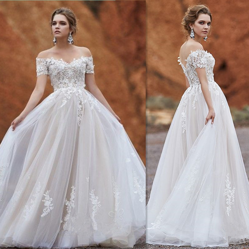 Srui Sker Off The Shoulder Lace Applique Wedding Dress With Backless Ball Gown Floor Length Tulle Bridals Dress