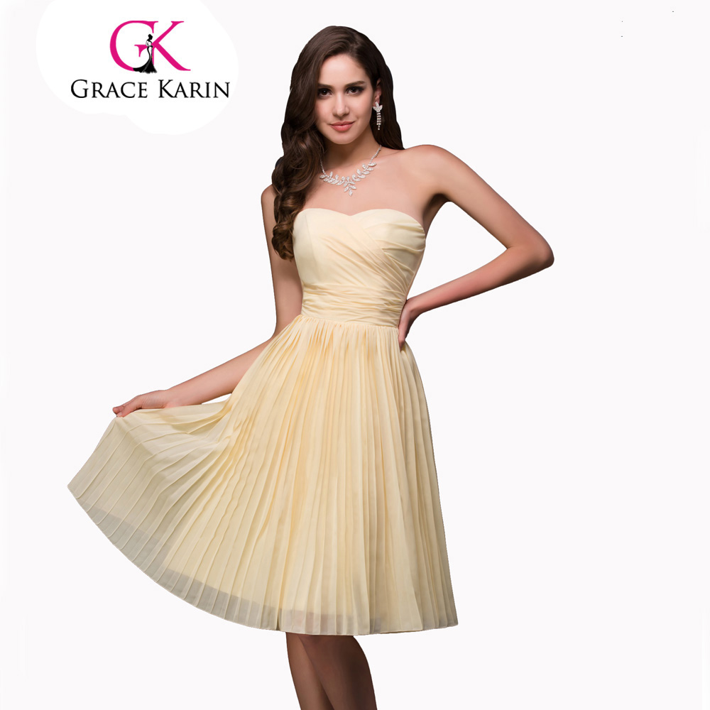 ̿̿̿(•̪ )Grace Karin 2017 Cheap Bridesmaid Dress Gown Yellow Knee ...