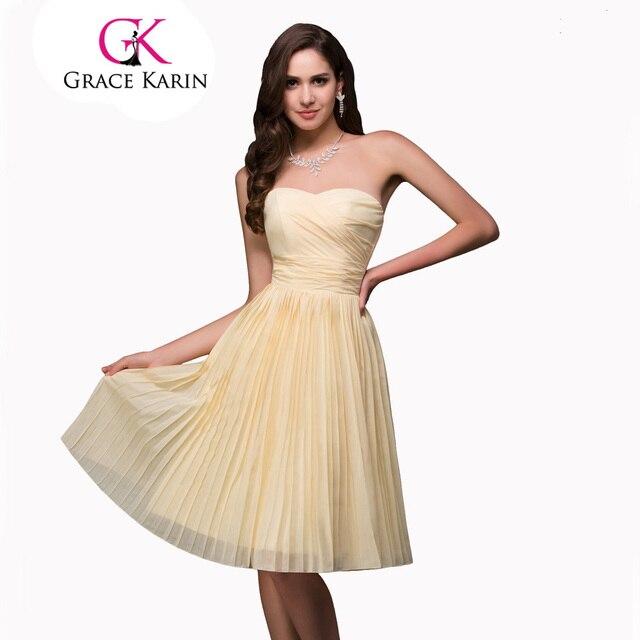 0a579be9c3baf Grace Karin 2017 Ucuz Gelinlik Giydirme Elbise Sarı Diz Boyu Kısa Gelinlik  Modelleri Şifon Sweetheat Parti