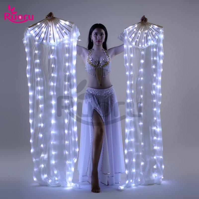 Fashion LED Belly Dance Silk Fan Veil 100/% Silk Fan Veil Stage Performance Props
