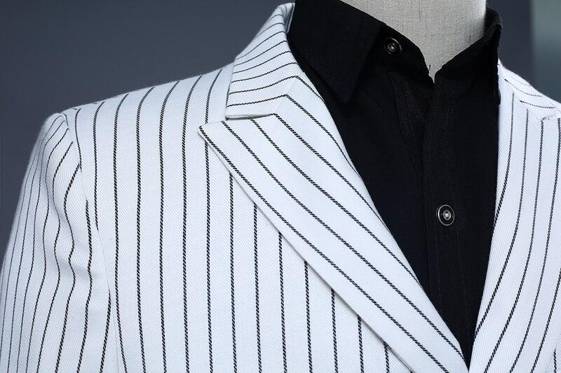 Pyjtrl Brand Men's Two Piece Set White Stripe Dress Suits Wedding Suits For Men Tuxedo Gentle Modern Blazer Men Suits #4