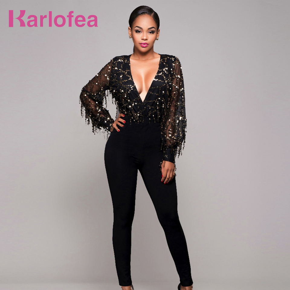 Karlofea Sexy Women Long Sleeve Jumpsuit Black Long Rompers Deep-V Neck Sequined Tassel Elegant Night Club Party Mesh Jumpsuit