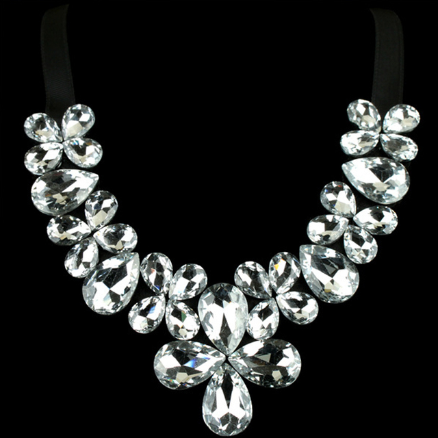 L Y Euramerican Fashion Exaggerated Super Flash All Crystal Glass With Chokers Necklaces 3 Color Into The NK - 01317