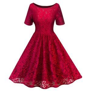6c41d4e6f99 Women s Vintage O Neck Short Sleeve Slim Swing A Line Dress Cocktail Party  Floral Lace Formal Dresses