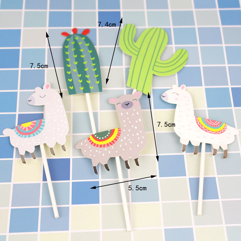 Omilut 6pcs Mexican Party Cake Topper LLama Birthday Party Decoration Supplies Cactus Party Decoration Supplies Gift For Kid in Banners Streamers Confetti from Home Garden