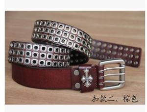 Image 3 - Free Shipping,Top new natural 100% cow leather buckle belt.brand genuine leather fashion vintage rivet belts,self defense tool