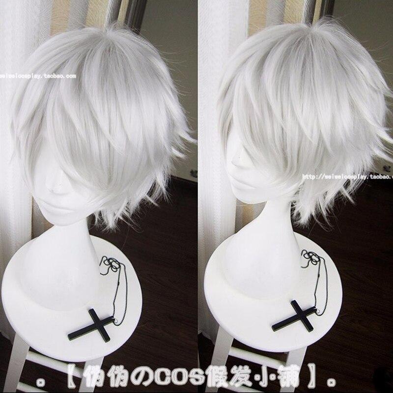 IHYAMS Anime Wigs Short Synthetic-Hair-Cosplay Tokyo Ghoul Kaneki Ken Silver Grey Heat-Resistance-Fiber