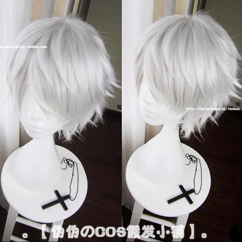 IHYAMS Wigs Tokyo Ghoul Kaneki Ken Wig Short Straight Silver Grey Synthetic Hair Cosplay Anime Wigs Heat Resistance Fiber