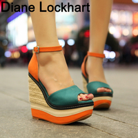 Plus Size Bohemian Women Sandals Ankle Strap Straw Platform Wedges For Female Shoes Flock High Heels Cover Heel Sandal