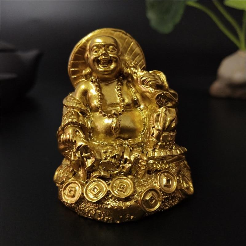 Golden Chinese Laughing Buddha Statue Ornaments Feng Shui Money Maitreya Buddha Sculpture Figurines For Home Garden Decoration