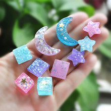 20pcs resin sailor moon star for  DIY  phone decoration hair craft nail decoration mixed colors