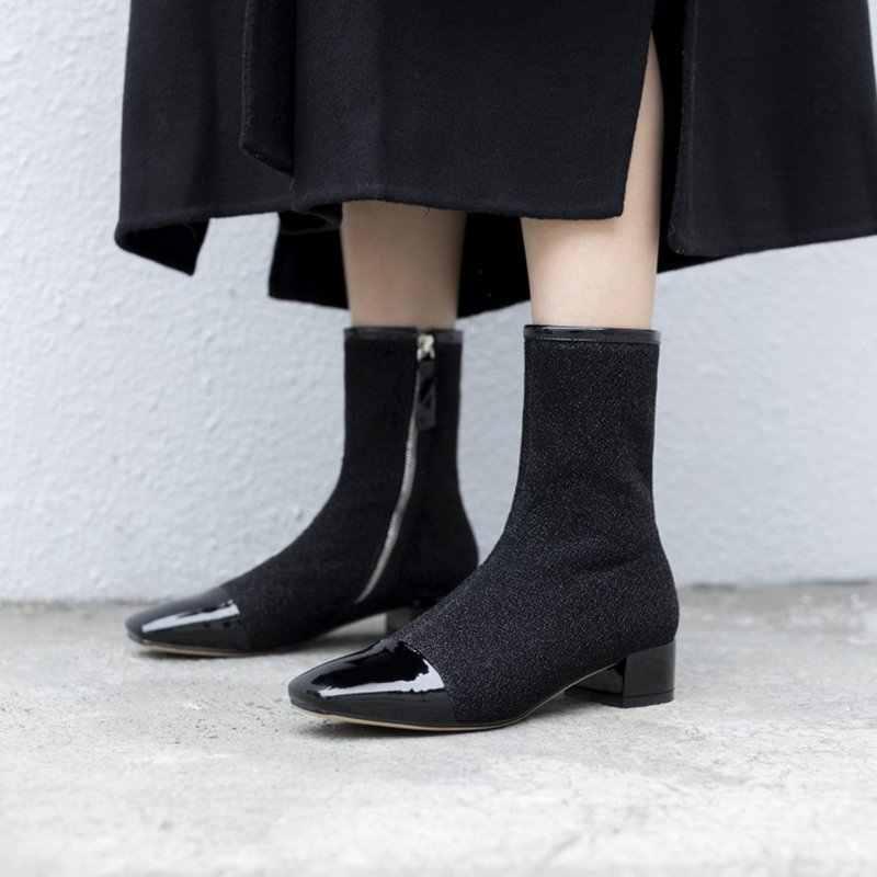REAVE KEDI Ayakkabı kadın yarım çizmeler Streç Fermuar Kare ayak Kalın topuk Botas feminino mujer Çorap çizmeler Hakiki deri A1426