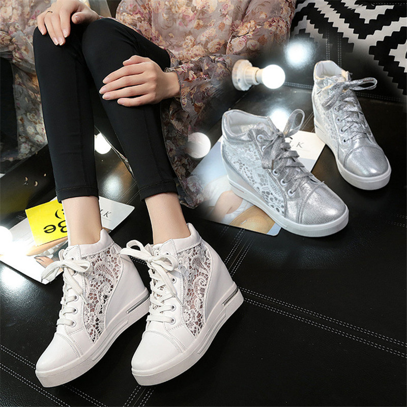 2019 Spring Summer New Mesh Sneakers Women Casual Increase High White Shoes Female Shoes tenis feminino