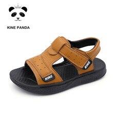 Unique Panda Kids Sandals for Little Boy Summer Beach Children Shoes sandales Genuine Leather Boys Sandals flip flops цена в Москве и Питере